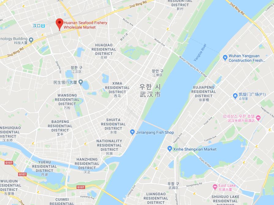 우한 수산시장 지도